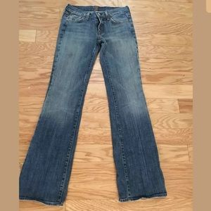 7 FOR ALL MANKIND Blue Cotton Blend Bootcut Jeans